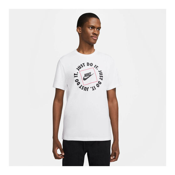 Nike Mens Sportswear Just Do It HBR Tee, White, rebel_hi-res
