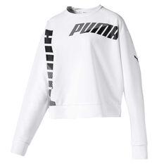 Puma Womens Modern Sport Crew Sweater White XS, White, rebel_hi-res