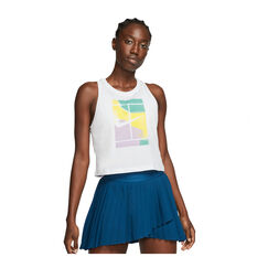 NikeCourt Womens Cropped Tennis Tank White S, White, rebel_hi-res