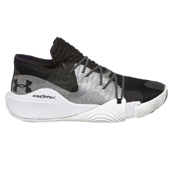 Under Armour Spawn Low Mens Basketball Shoes, Black / Grey, rebel_hi-res