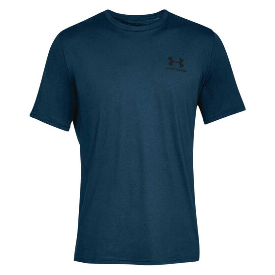 Under Armour Mens Sportstyle Tee, Navy / Black, rebel_hi-res
