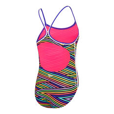 Speedo Girls Sierra One-Piece Swimsuit Black / Multi 8, Black / Multi, rebel_hi-res