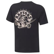 Toronto Raptors Retro Silver Logo Tee Black S, Black, rebel_hi-res