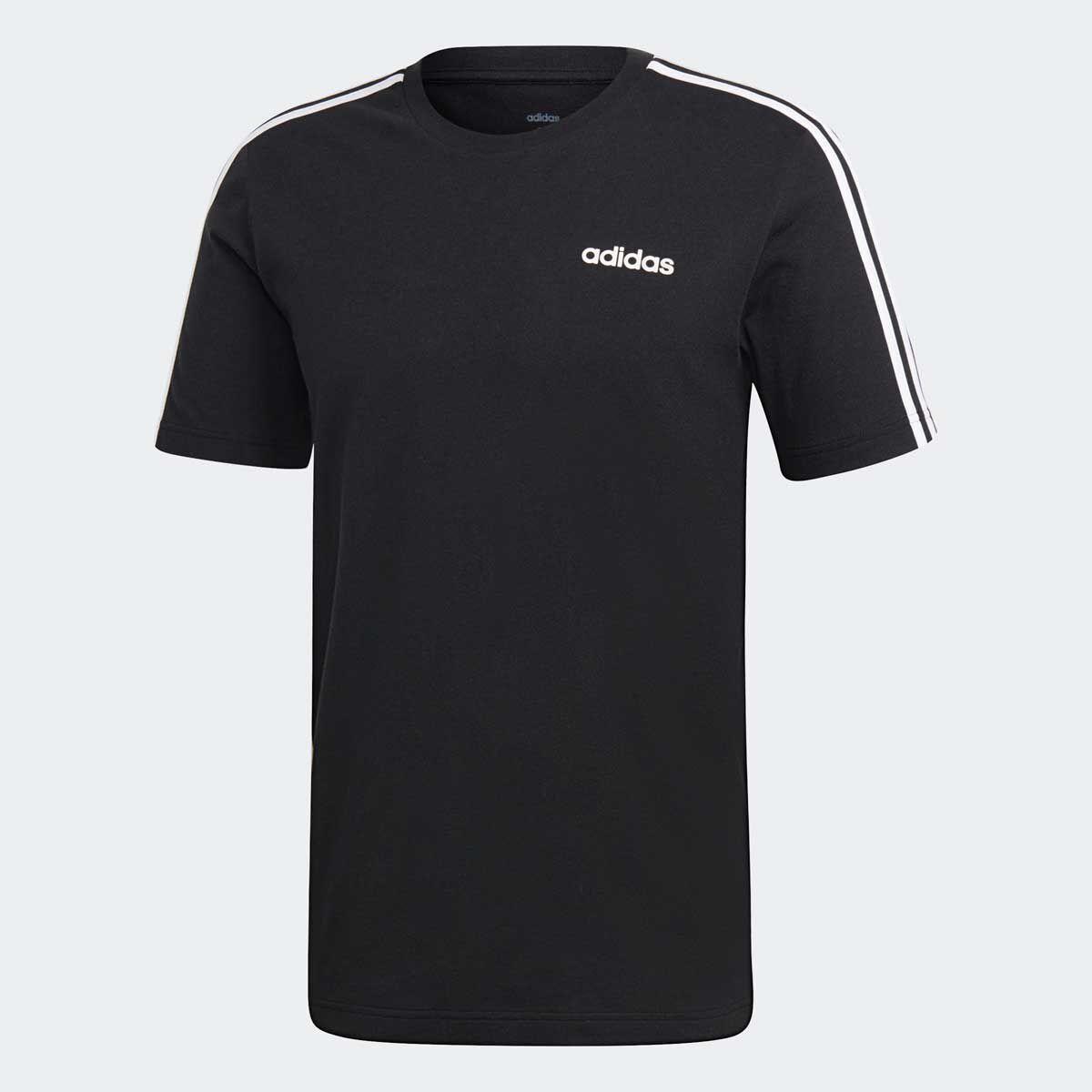 adidas Mens Essentials 3 Stripes Tee Black M