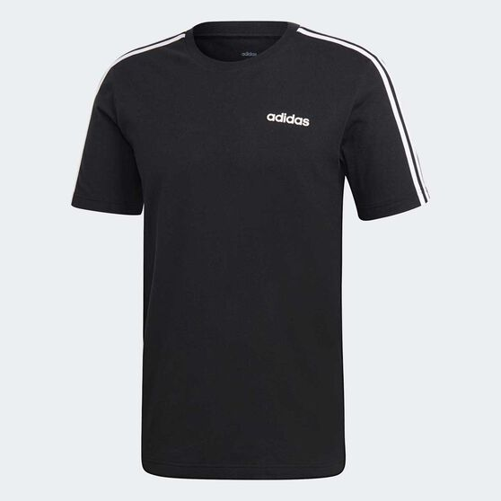 adidas Mens Essentials 3 Stripes Tee, Black, rebel_hi-res