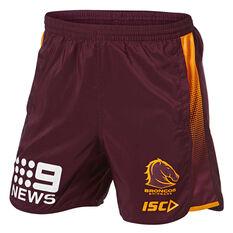 Brisbane Broncos 2019 Mens Training Shorts Maroon S, Maroon, rebel_hi-res