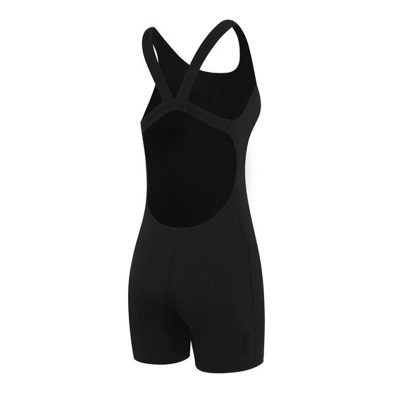 Speedo Womens Endurance+ Leaderback Legsuit, Black, rebel_hi-res