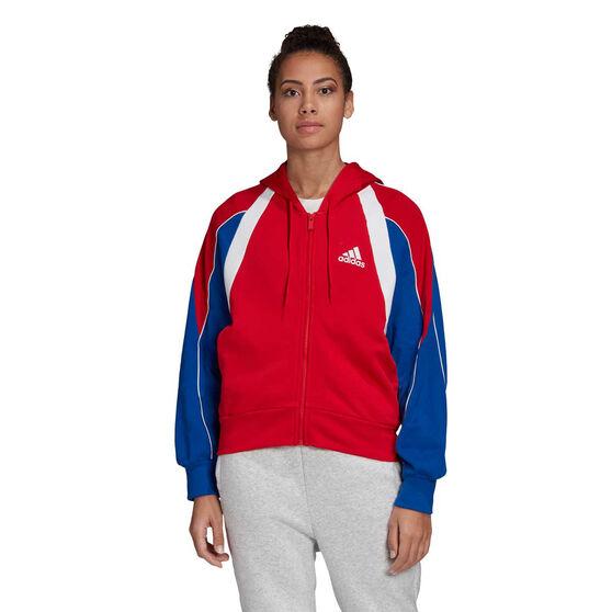 adidas Womens Colourblock Full Zip Hoodie, Red, rebel_hi-res