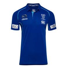 North Melbourne Kangaroos 2019 Mens Media Polo Blue / White S, Blue / White, rebel_hi-res