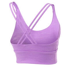 Running Bare Womens Lotus Long Line Sports Bra Purple 8, Purple, rebel_hi-res