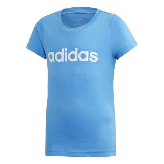 adidas Girls Essential Linear Tee, Blue / White, rebel_hi-res
