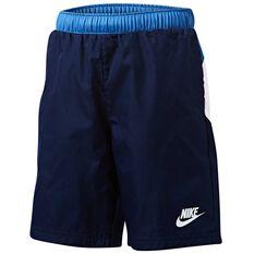 Nike Boys Oversized Swoosh Woven Shorts Navy / Blue 4, Navy / Blue, rebel_hi-res