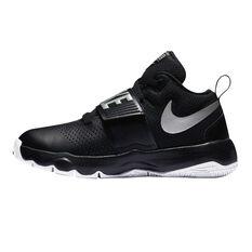 sale retailer 8a7a4 cf90f ... Nike Team Hustle D 8 Boys Basketball Shoes Black   Silver US 4, Black