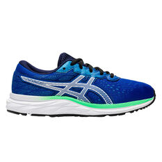 Asics GEL Excite 7 Kids Running Shoes Blue/Green US 4, Blue/Green, rebel_hi-res