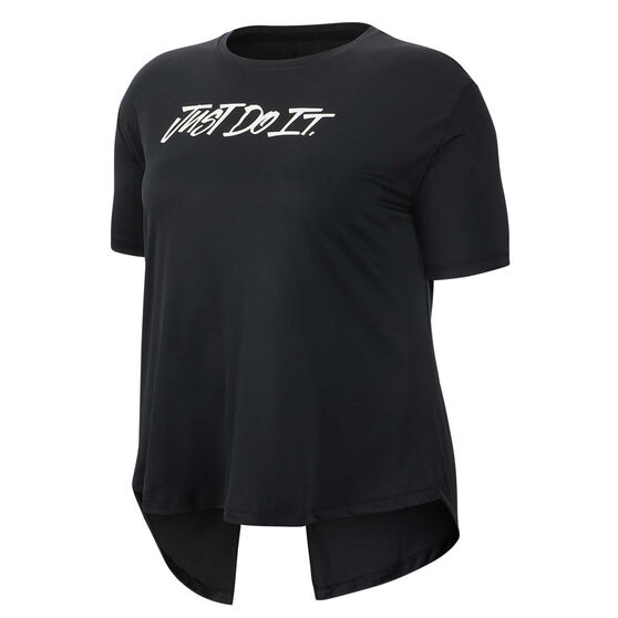 Nike Womens Dri FIT Elevated Training Tee Black XL, Black, rebel_hi-res