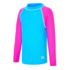 Zoggs Toddler Girls Long Sleeve Rash Vest, Blue / Pink, rebel_hi-res