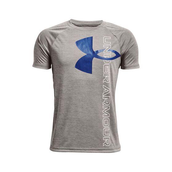 Under Armour Boys Tech Split Logo Hybrid Tee, Grey/Blue, rebel_hi-res