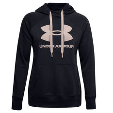 Under Armour Womens Rival Fleece Logo Hoodie Black XS, Black, rebel_hi-res