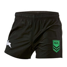 South Sydney Rabbitohs Mens Home Supporter Shorts Black S, Black, rebel_hi-res
