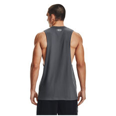 Under Armour Mens Project Rock Outwork Tank, Grey, rebel_hi-res