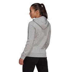 adidas Womens Loungewear Essentials Logo Fleece Hoodie Grey XS, Grey, rebel_hi-res