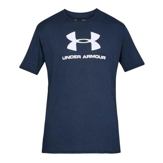 Under Armour Mens Sportstyle Logo Tee, Navy, rebel_hi-res