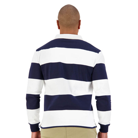 Retro Hoop Mens Long Sleeve Jersey, White, rebel_hi-res