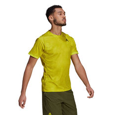 adidas Mens Freelift Tennis T-Shirt Yellow S, Yellow, rebel_hi-res
