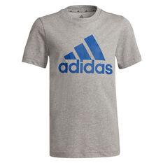 adidas Boys Essentials Big Logo Tee Grey/Blue 8, Grey/Blue, rebel_hi-res