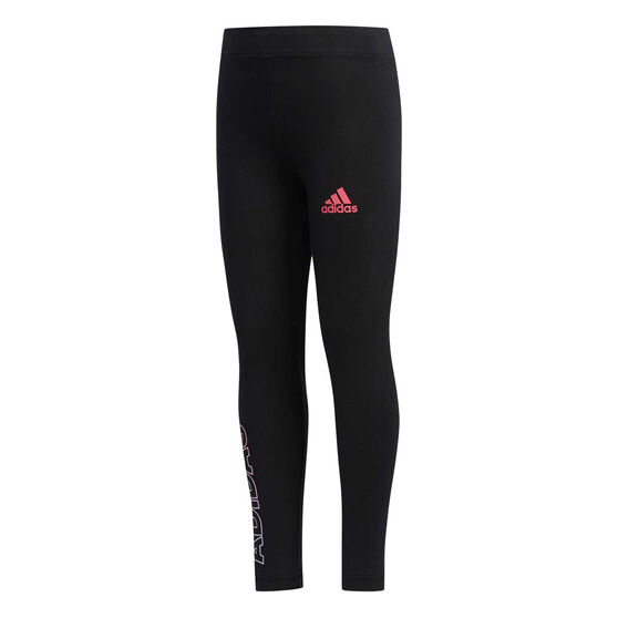 adidas Girls Cot Tights, Black / Pink, rebel_hi-res