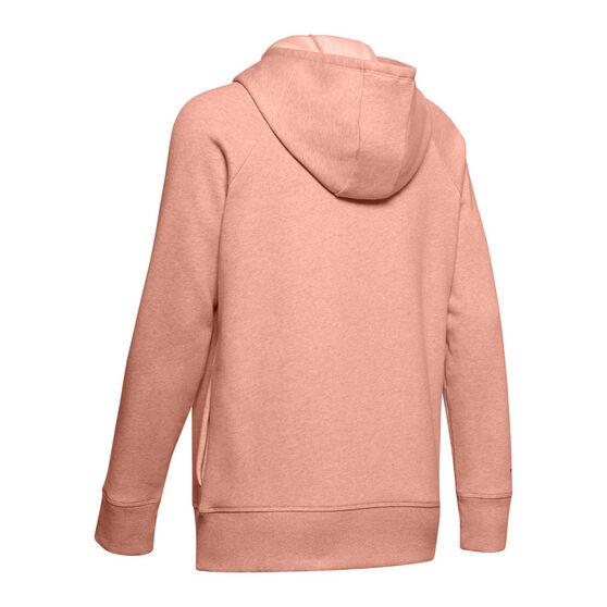 Under Armour Womens Rival Fleece Full Zip Graphic Hoodie, Pink, rebel_hi-res