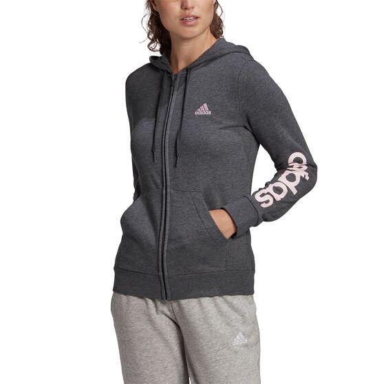 adidas Womens Essentials Logo Full Zip Hoodie, Grey, rebel_hi-res