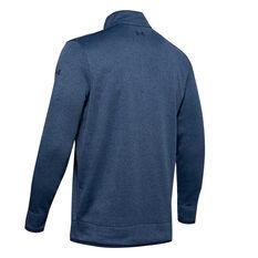Under Armour Mens Half Zip Fleece Top Blue S, Blue, rebel_hi-res