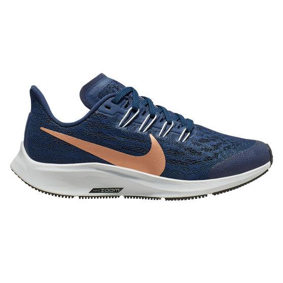 Readability chocolate Bold  Nike Air Zoom Pegasus 36 Kids Running Shoes Navy / Gold US 1 | Rebel Sport