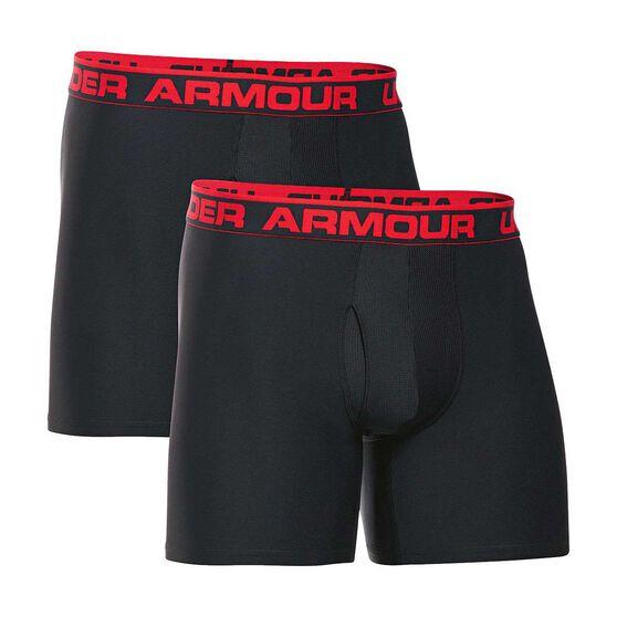 Under Armour Mens Original Series 6in Boxerjock 2 Pack, Black, rebel_hi-res