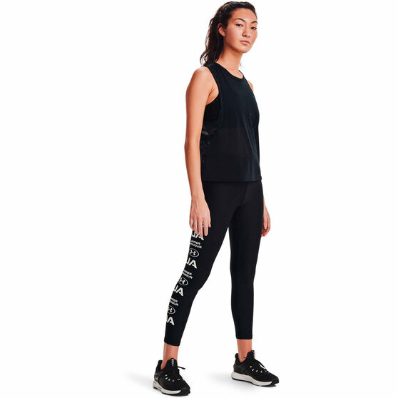 Under Armour Womens HeatGear No-Slip Graphic Ankle Tights, Black, rebel_hi-res