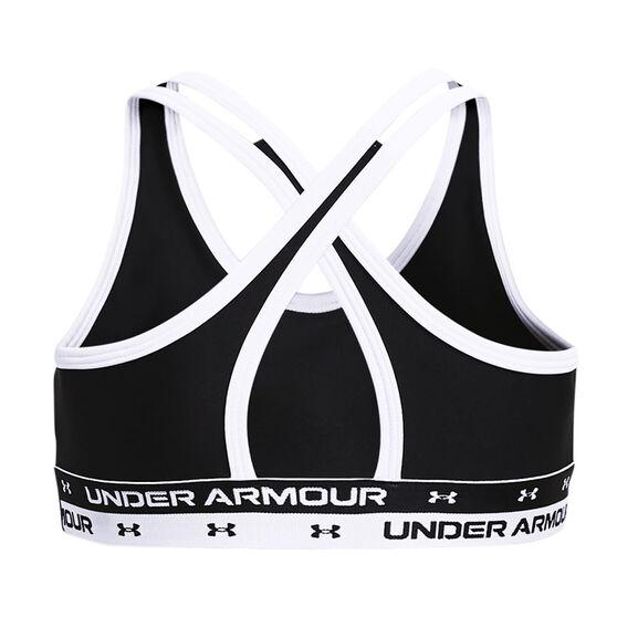 Under Armour Girls HeatGear Crossback Sports Bra, Black, rebel_hi-res