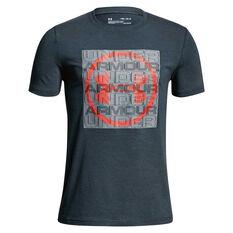Under Armour Boys UA Visualogo Tee Grey / Red X S, Grey / Red, rebel_hi-res