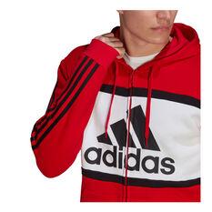 adidas Mens Essentials Colourblock Logo Hoodie, Red, rebel_hi-res
