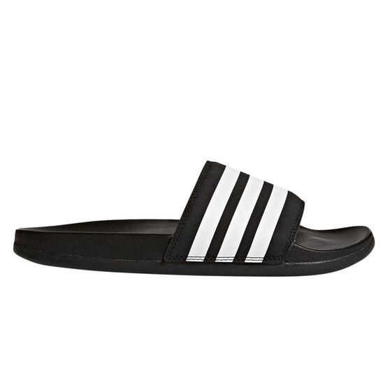 adidas Adilette Comfort Womens Slides, Black / White, rebel_hi-res