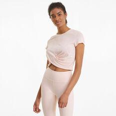 Puma Womens Studio Twist Burnout Tee, Pink, rebel_hi-res