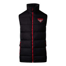 Essendon Bombers 2020 Mens Down Vest Black S, Black, rebel_hi-res