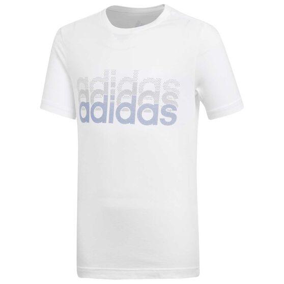 Adidas Boys Linear Tee, White, rebel_hi-res