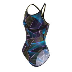 Zoggs Womens Constellation Piped Sprintback Swimsuit Multi 8, Multi, rebel_hi-res