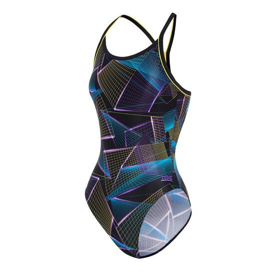 Zoggs Womens Constellation Piped Sprintback Swimsuit, Multi, rebel_hi-res