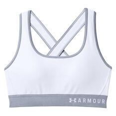 Under Armour Womens Crossback Sports Bra White XS, White, rebel_hi-res