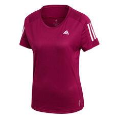 adidas Womens Own The Run Tee Purple XS, Purple, rebel_hi-res