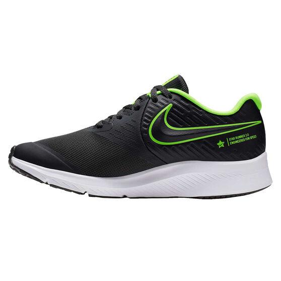 Nike Star Runner 2 Kids Running Shoes, Grey / Green, rebel_hi-res