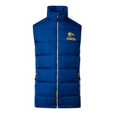 West Coast Eagles 2020 Mens Down Vest Blue S, Blue, rebel_hi-res