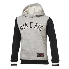 11efd509523e98 Nike Air Boys Pull Over Hoodie Grey Black 4
